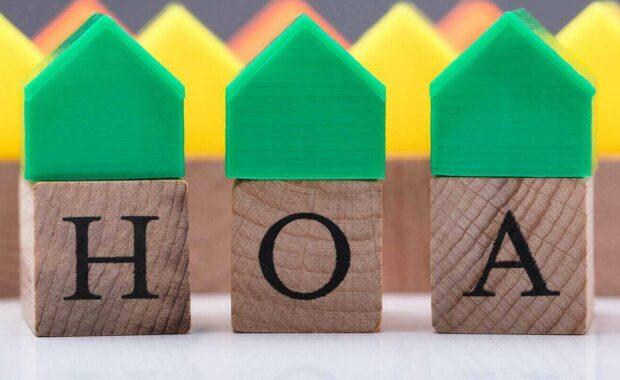绿色房屋模型在业主协会木块上
